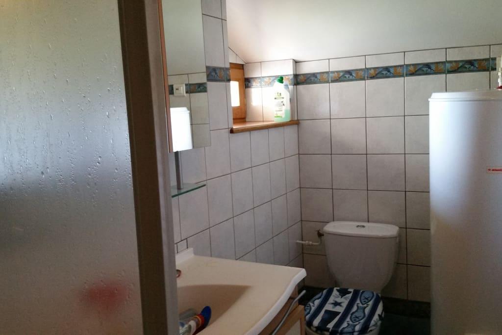 La salle de bain avec une douche.