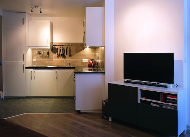 Open plan kitchen  from lounge