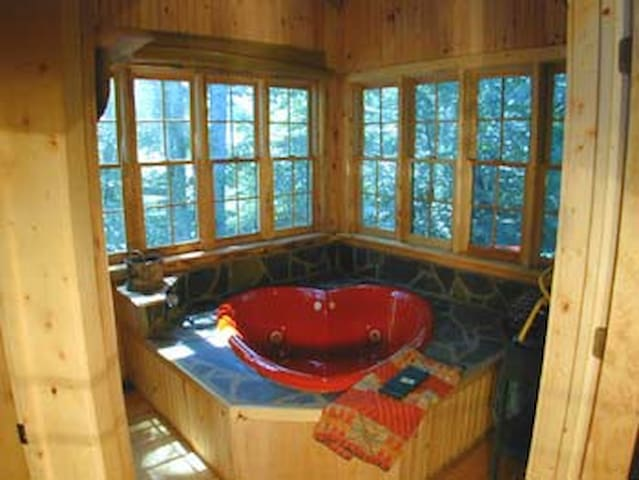 Heart jacuzzi, fireplace, hot tub
