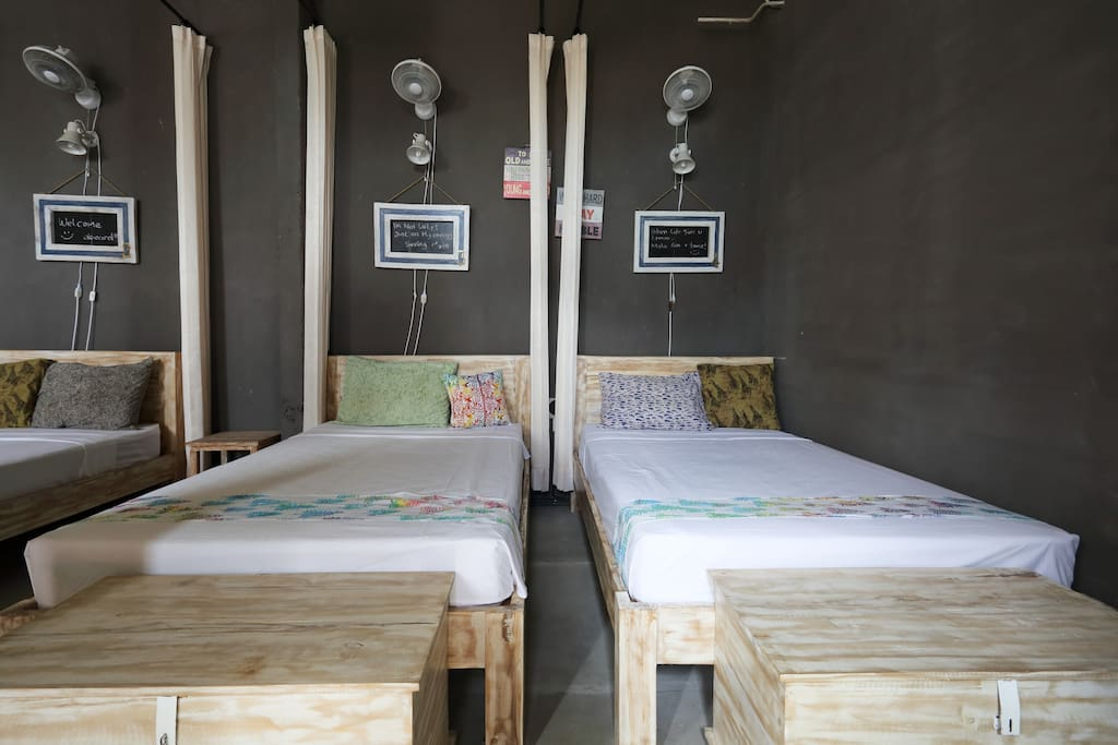 Each of the beds has a unique different theme that comes with curtain for privacy, fan, charging points and reading lights.