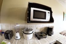 Microwave, toaster oven, blender, rice cooker, electric skillet, coffee maker