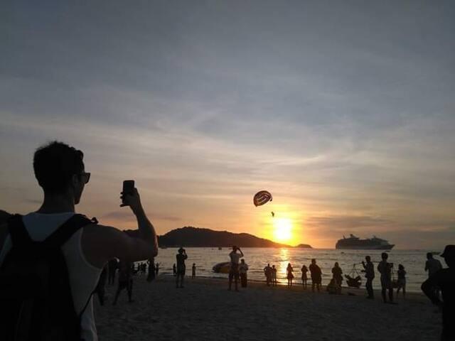 Beautiful sunset at Patong beach