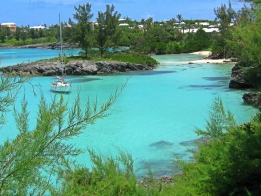 Private Beach in walking distance via the Historic Bermuda railway trails.