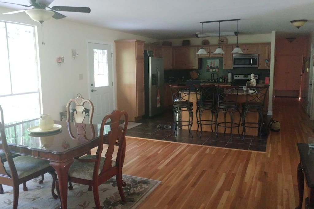 Spacious kitchen/common area welcomes you and is perfect for a group