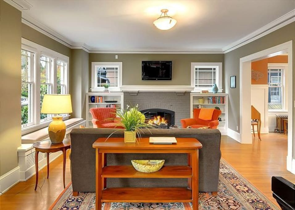 Lots of seating, fireplace and flat panel television.
