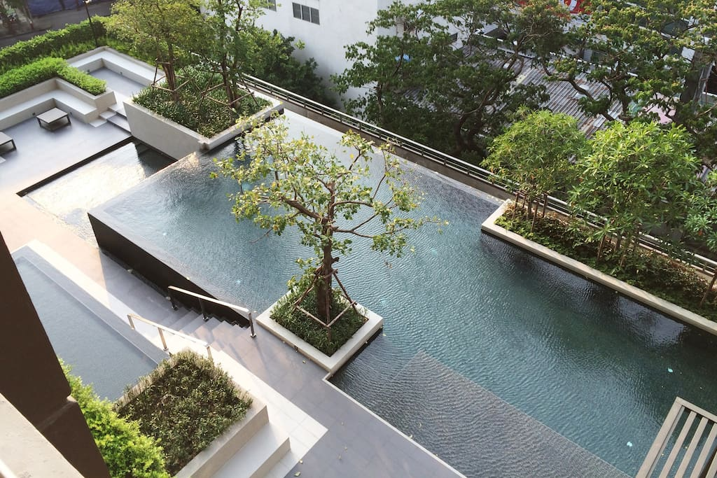 Pool view from apartment