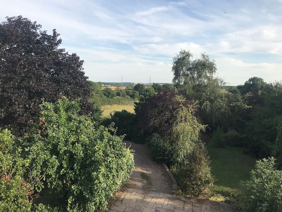 Views of Garden and to Southwell Racecourse from Bedroom