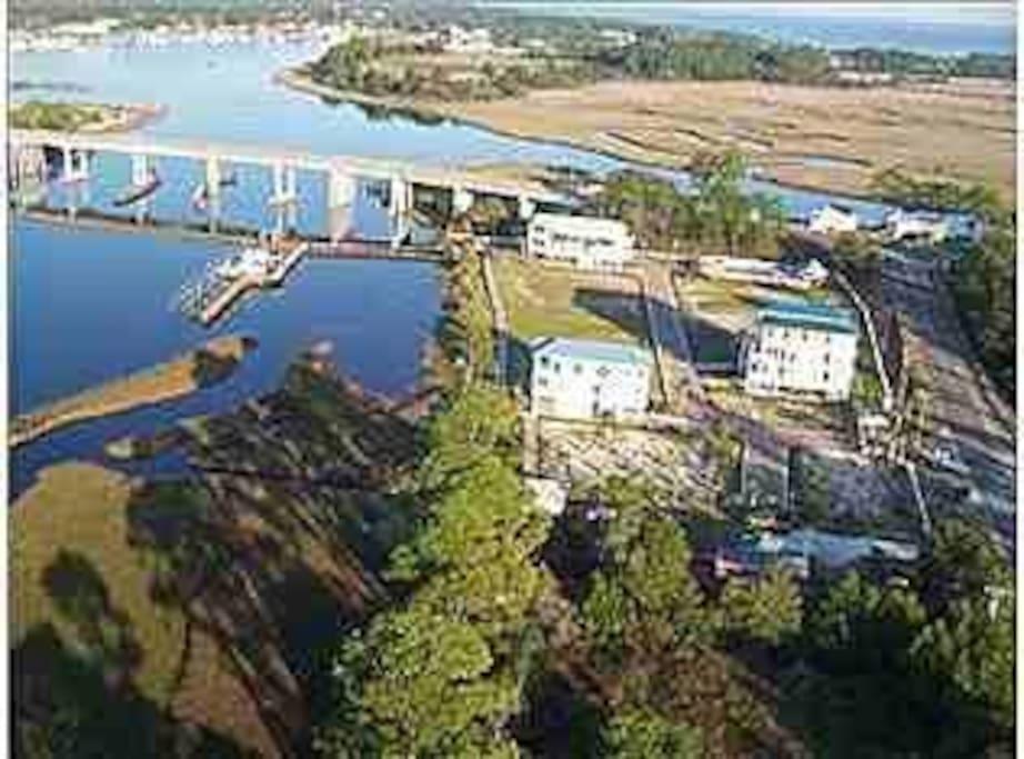 Aerial view of neighborhood.