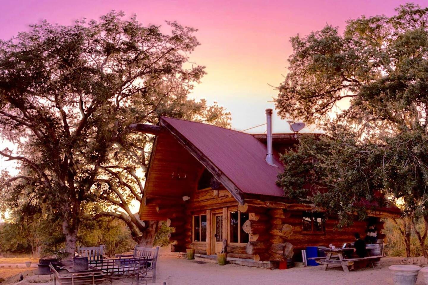 """HGTV """"Timber Kings"""" Pioneer Log homes built our stunning cabin!  Sunset at the Ranch is always aglow!"""