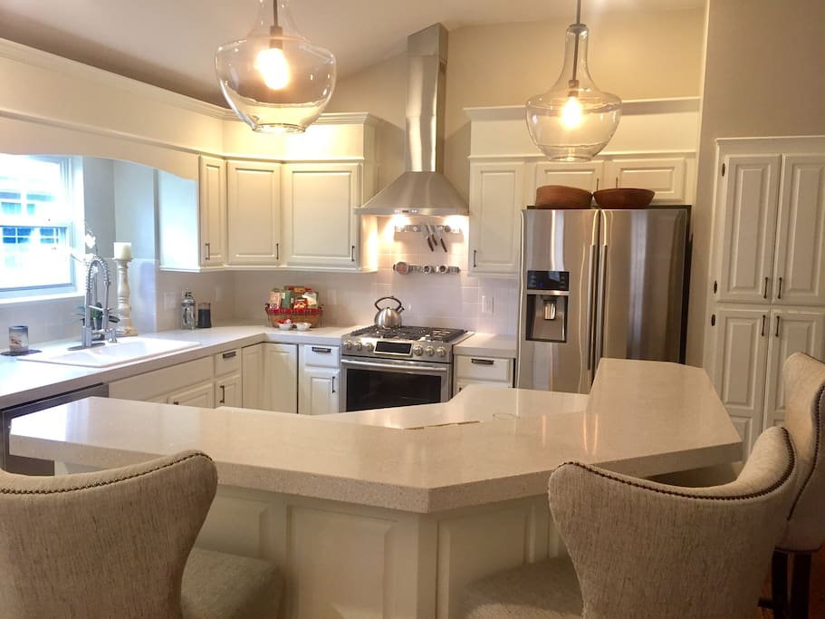 Newly remodeled kitchen with gas stove and all new dishes, appliances, cooking tools