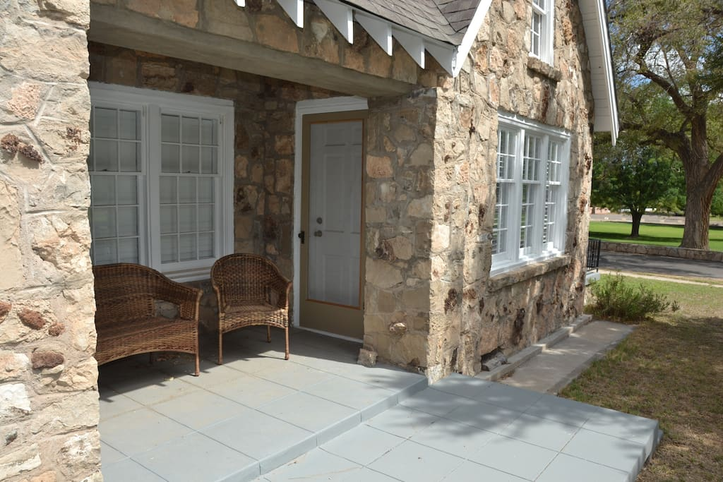 Patio on side of house