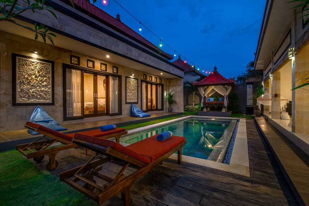 Pool, sundeck and bedrooms view