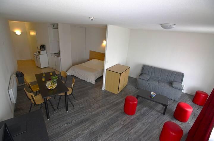 Très Grand Studio KOSY : 1 Lit double + 1 canapé-lit