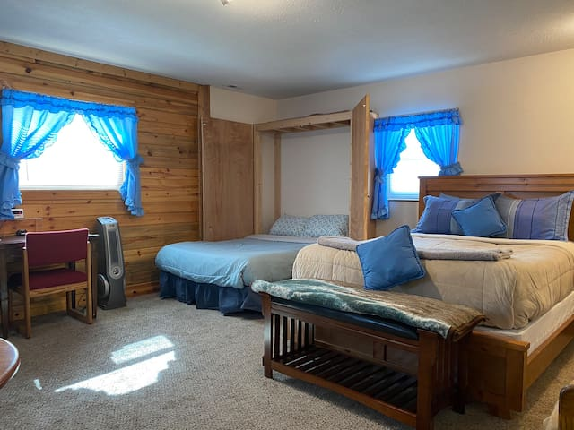 North Park Hide Out living room/bedroom studio.  Queen bed and fold down Murphy (double/full) bed.