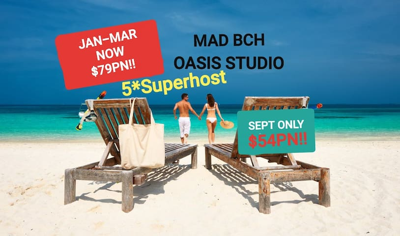 MAD BCH OASIS STUDIO* SEPT NOW$54PN !