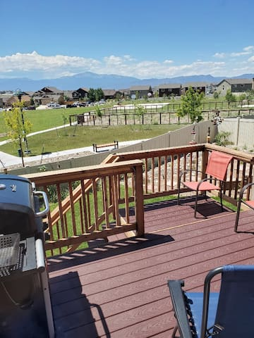 """View of Pike's Peak from the back deck... and """"Grill Out"""" while you are there!!"""