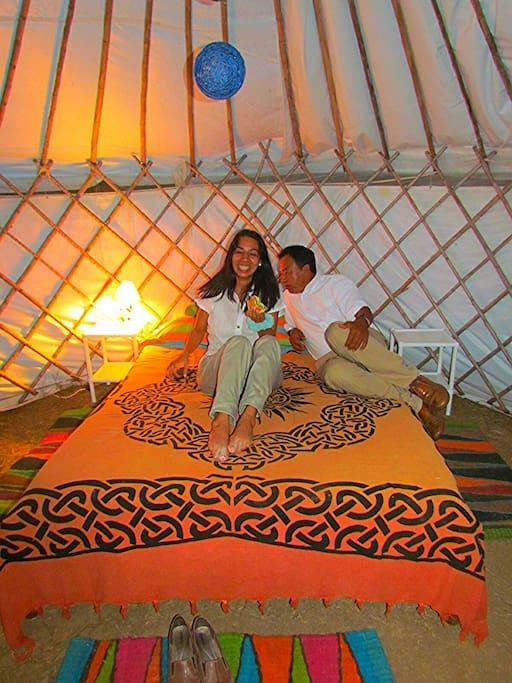 Relaxing in the yurt