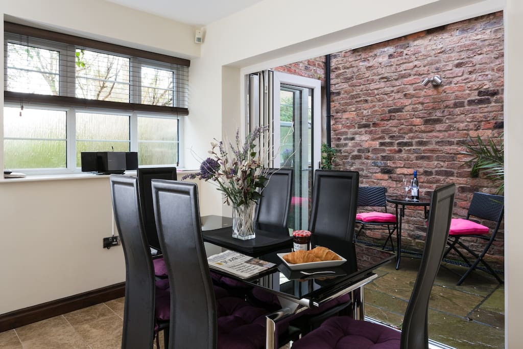 The dining area in the spacious open plan living area.