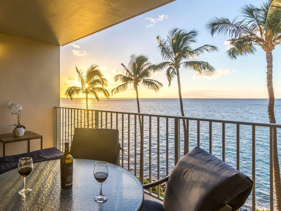 Epic Maui sunsets from your private lanai (Hawaiian for veranda, patio or porch)