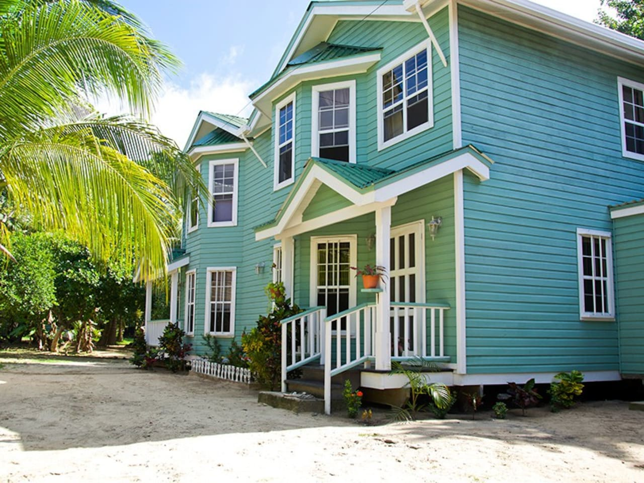 Bonito Beach House, steps from the beach. Entry and living areas on the ground floor, bedrooms upstairs.