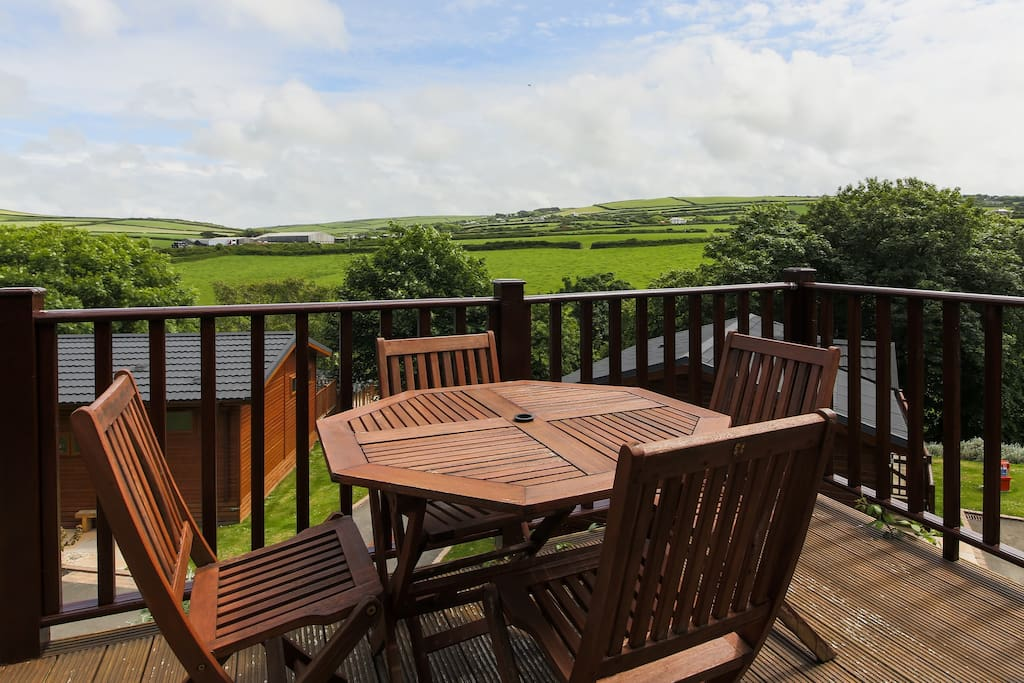 Decking area and view from the back of the lodge