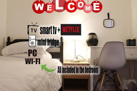 ☕️Bedroom/NearBeach🏖/PC/WiFi,Fridge,NetflixTV📺
