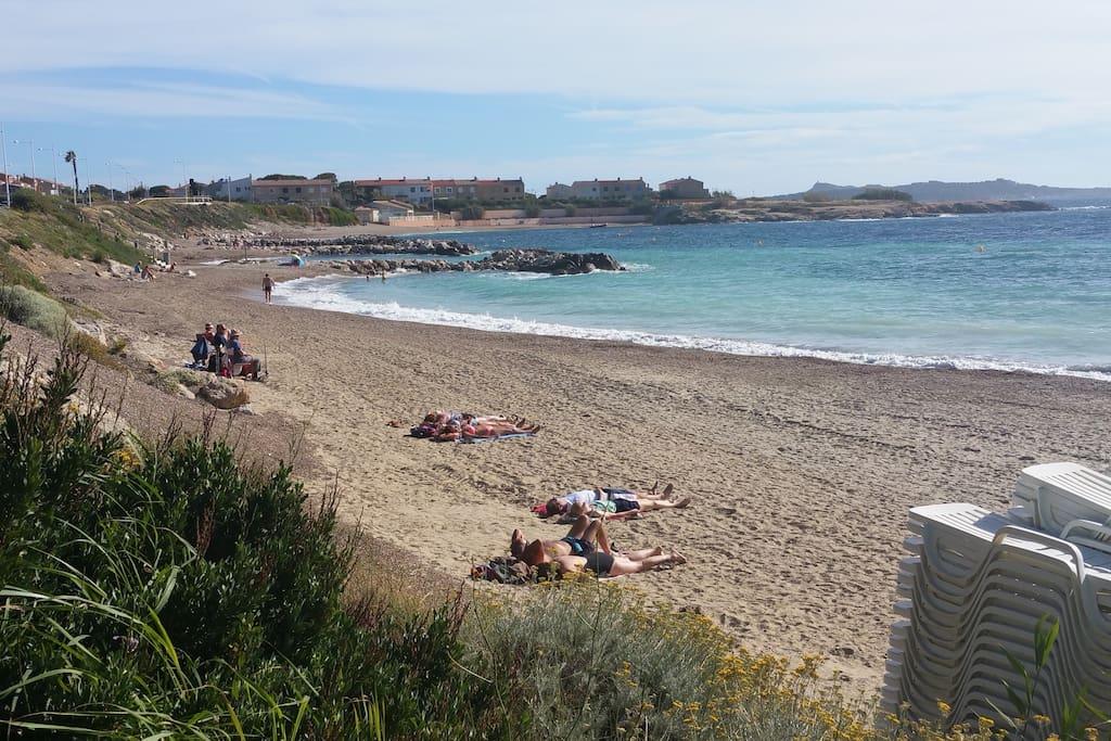 plages entretenues et surveillées,sable ou gravier au choix