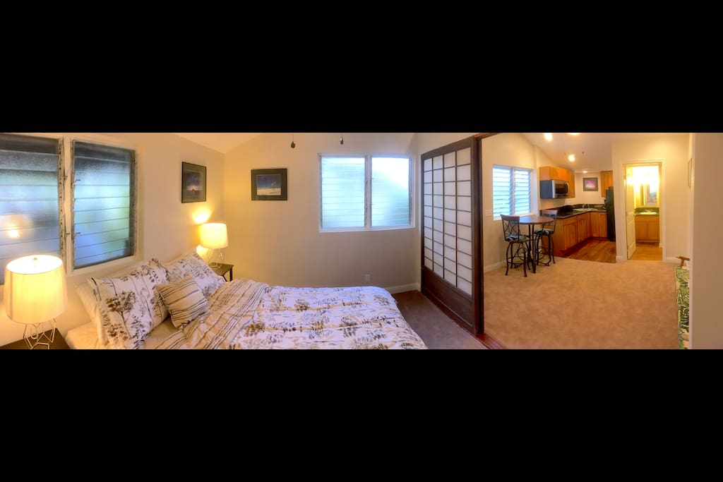 Your bedroom, living room, kitchen, and bathroom. The shoji doors can be closed for privacy.