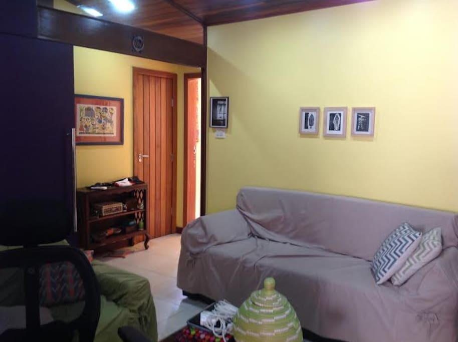 Exclusive family room (studio) for three people on the upper floor: a double sofa bed, a couch (stuffed with down), air conditioning, wi-fi, cable TV, printer, desk, chairs, hanger, drawers, cooler, amenities