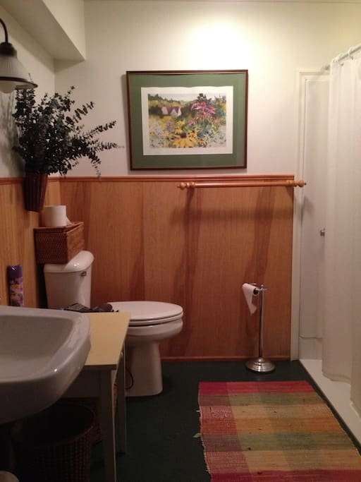 The private bathroom is modern and spacious.