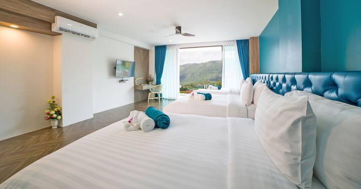Oceana 豪华三人床房普吉岛苏林&芭东&卡伦&卡马拉海滩海洋酒店/五分钟到海滩和幻多奇乐园