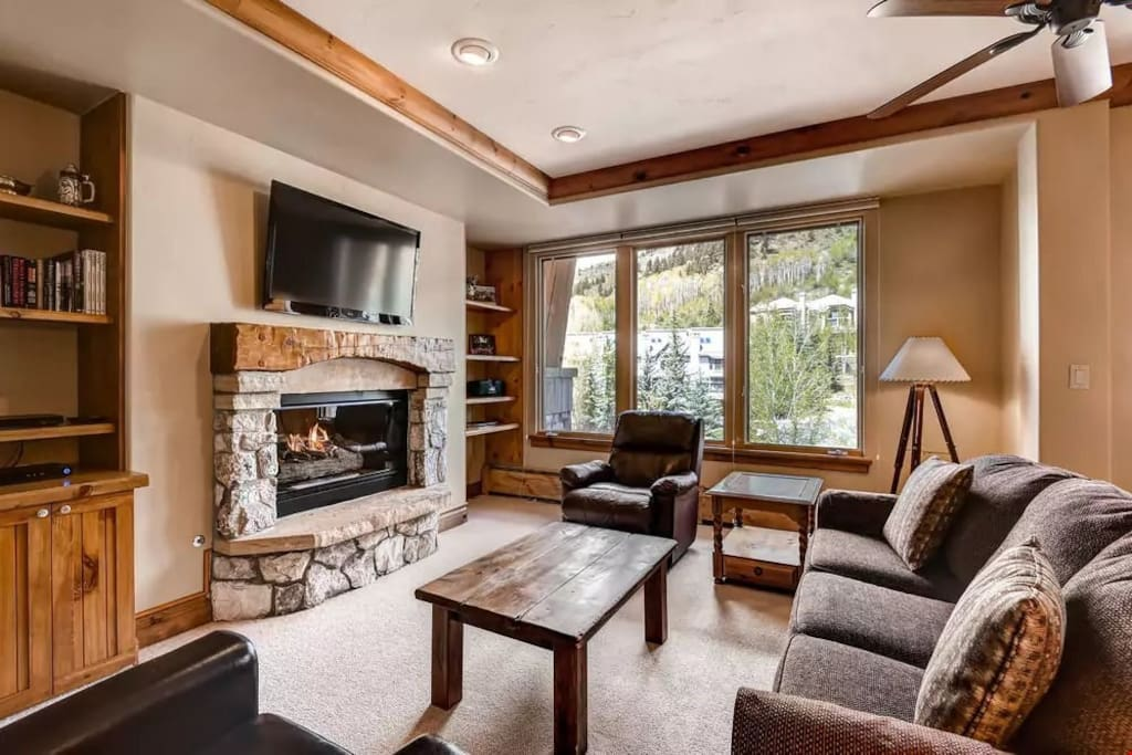 Retreat back to this spacious living room after a day on the slopes.