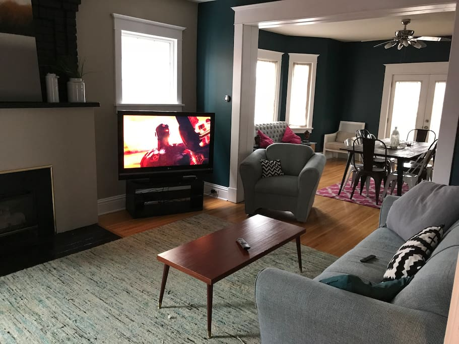"Living room with 50"" TV"