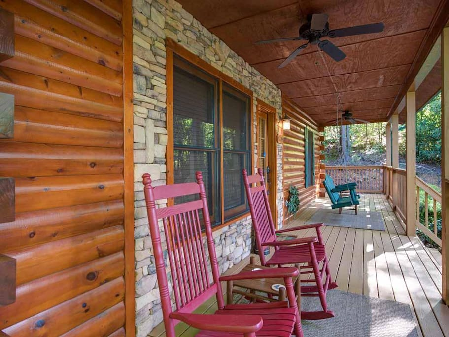 Let's rock! - With its rockers and bench swing–essentials for any mountain cabin!—the front porch is perfect for relaxing any tim