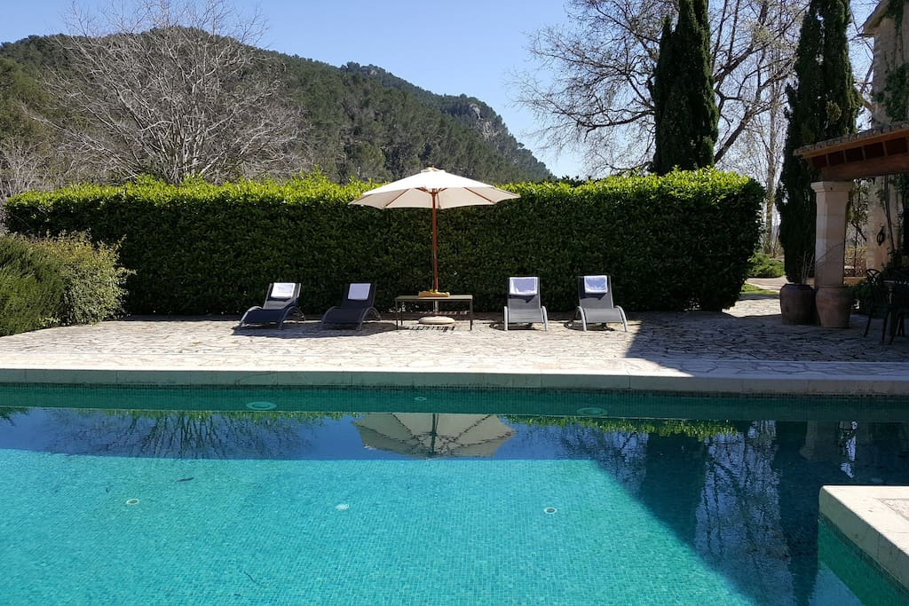 Es Pouet finca overview with private pool, terrace and fabulous mountain views.
