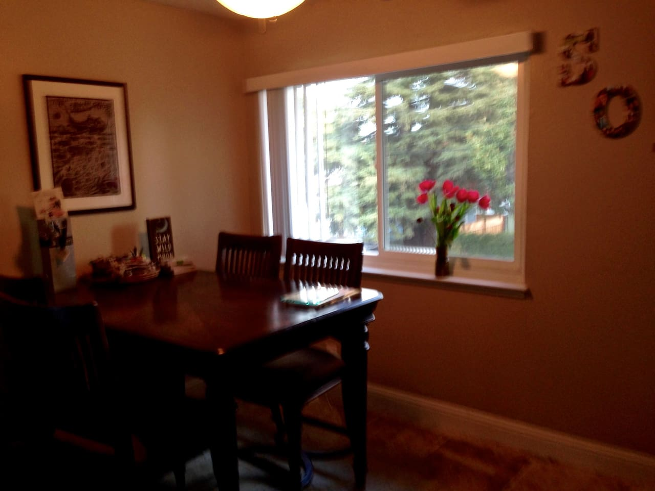Dining room table with leaf in center for extended space