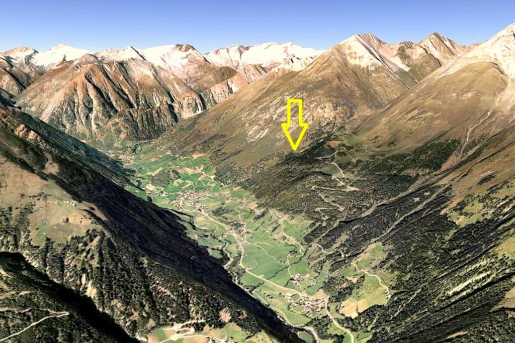 Position im Tal via Google Earth