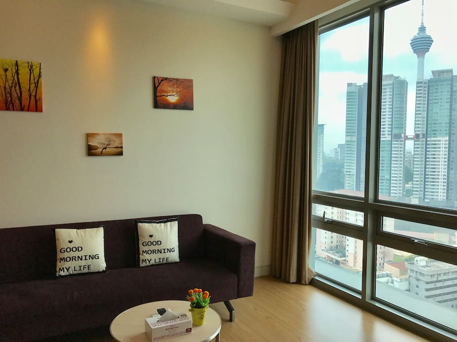Warm & cosy living room in with magnificent KL Tower view