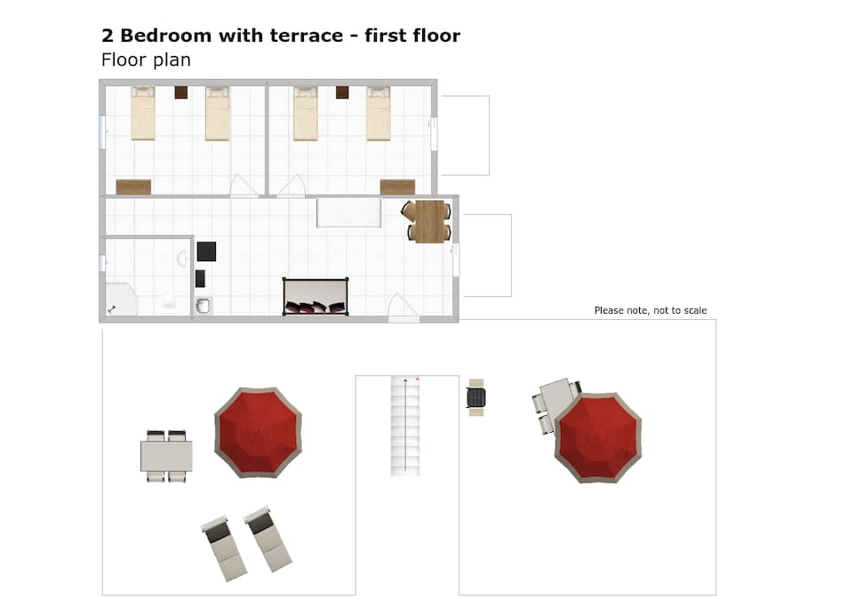 Floor plan: apartment and private terrace.