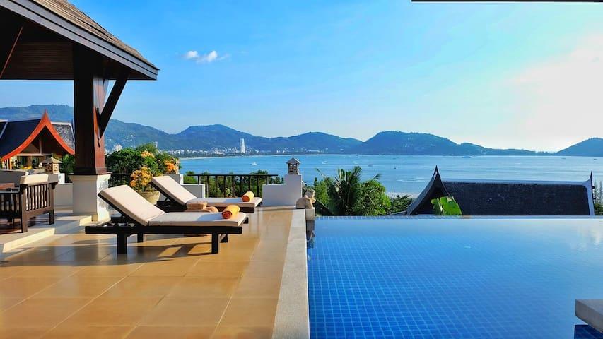 Ocean front villa in Patong 芭东海景泳池别墅,女仆,接送