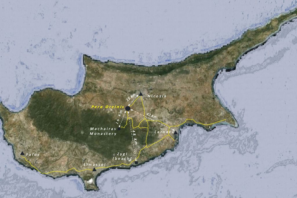 Map of Cyprus, Location of Pera Oreinis village