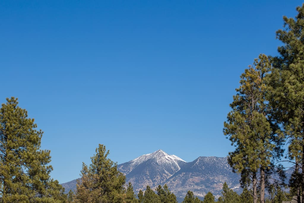 Views of the San Francisco Peaks from front of my home.