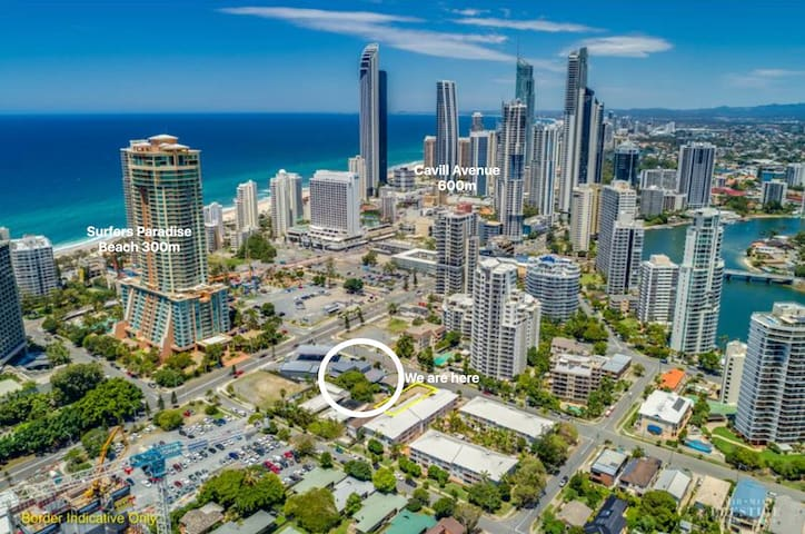 Our second to none location in the very heart of Surfers Paradise, minutes walk to Surfers Paradise beach, city centre and transport