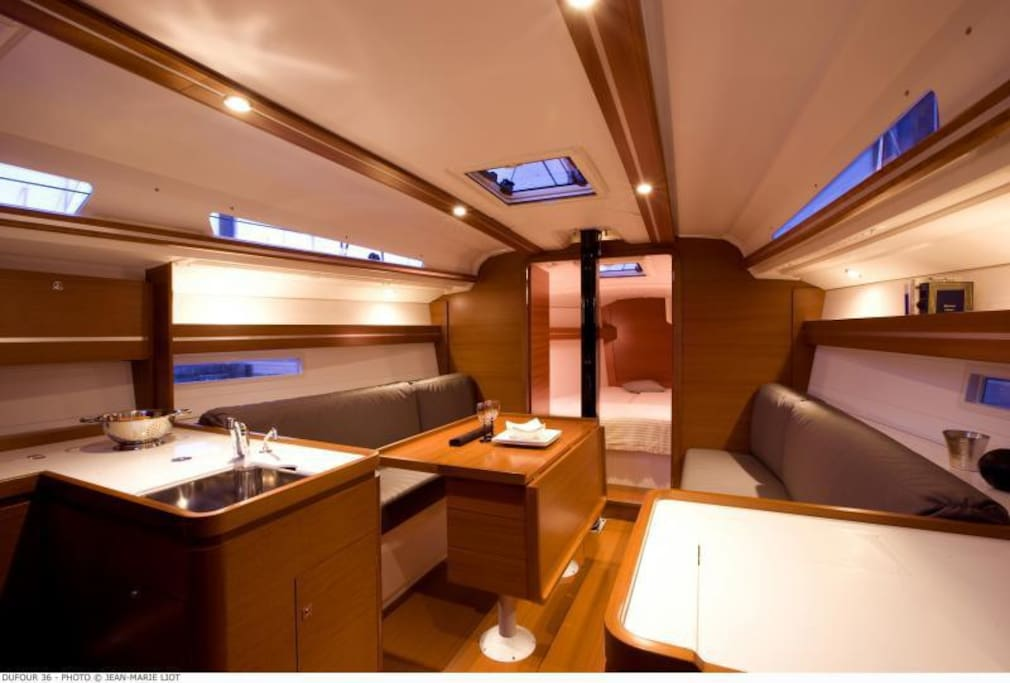Luxurious, spacious and comfortable interior on this almost new Dufour 36e