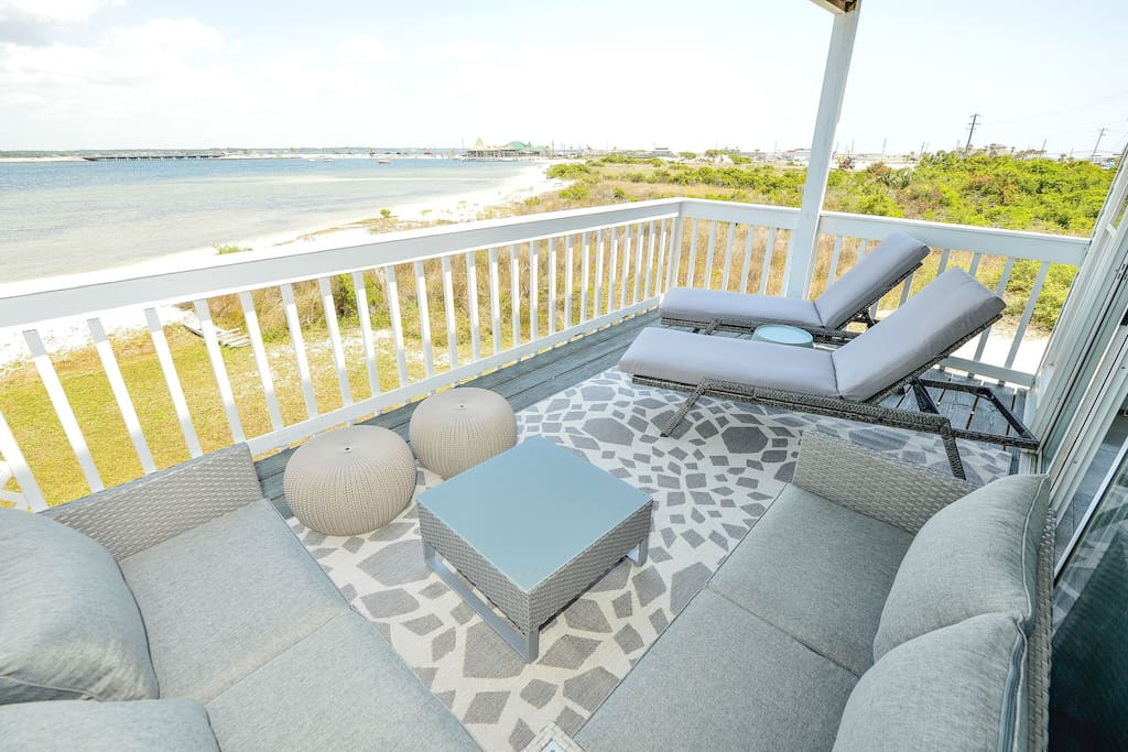 Relaxing ... Spacious 2nd floor balcony overlooking the Sound