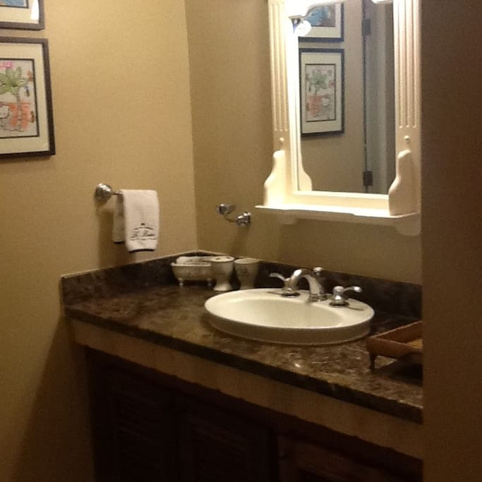 Sink area separate from bathroom.