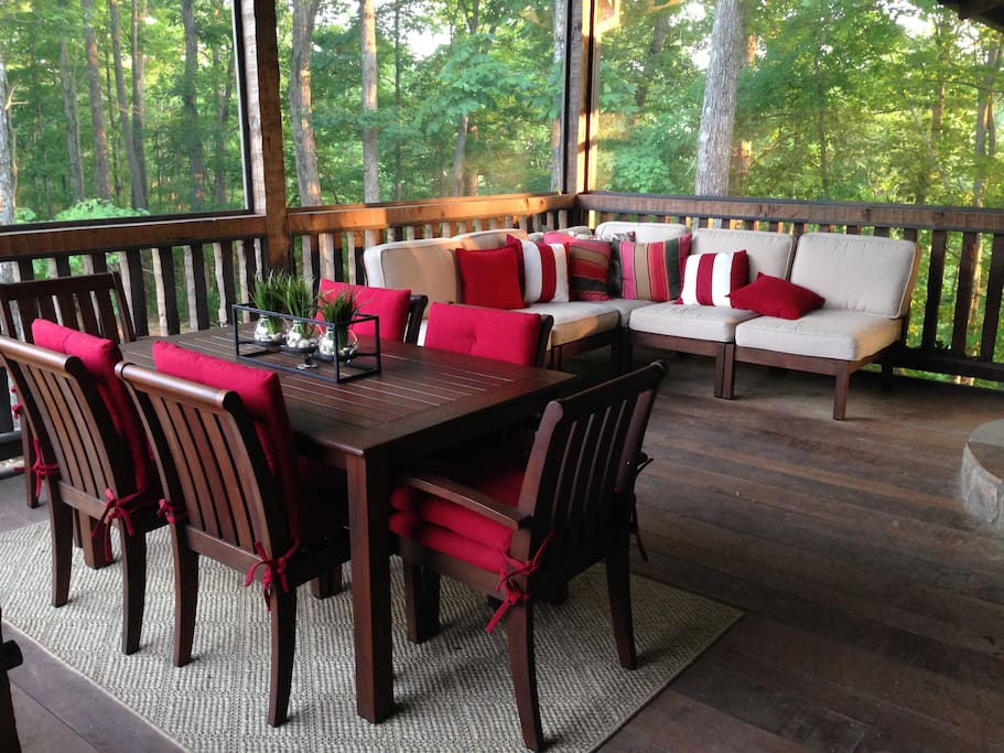Screened in Deck with Fireplace