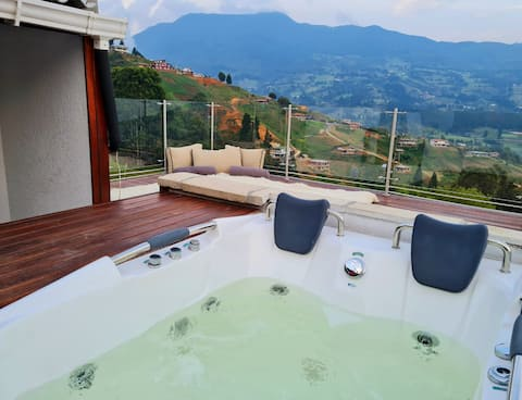 Casa de campo con jacuzzi y vista a Medellín