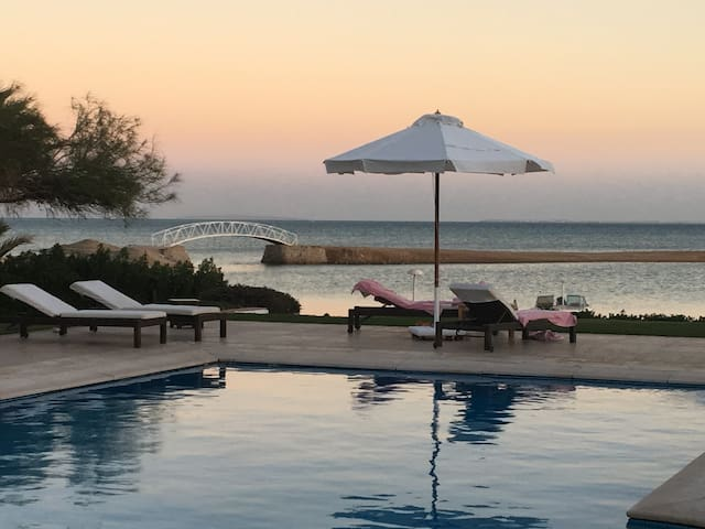 El Gouna villa, private beach heated pool sea view