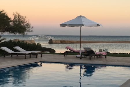 El Gouna villa, private beach heated pool sea view